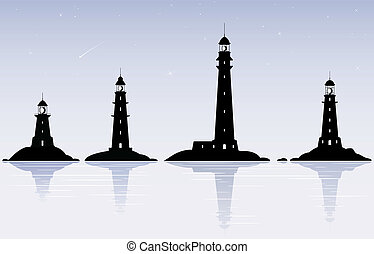 Lighthouses - Four black lighthouses over evening sky with...