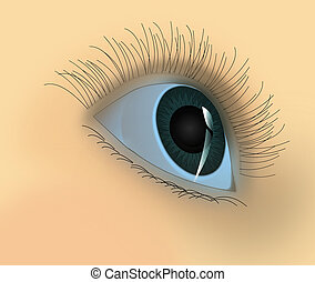 The Eye of the person with brilliant pupil of an eye.