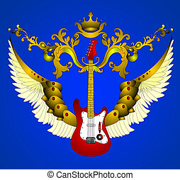 The Guitar with corona and wing on turn blue the background