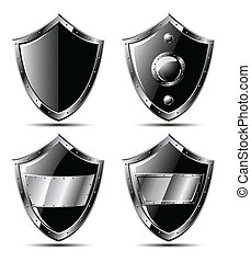Set of four black steel shields