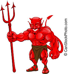 Devil standing with pitchfork - A devil cartoon character...