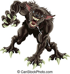 Werewolf illustration - A fearsome werewolf monster...