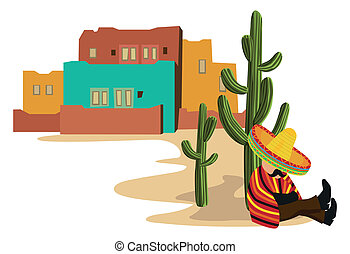 Mexican napping - A Mexican urban scene with a Mexican...