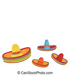 Sombreros - Illustrations of sombreros isolated on white...