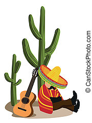 Mexican Napping - A Mexican napping next to a cactus with...