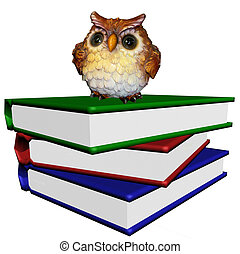 Pile of the books with wise owl - The Pile of the books with...