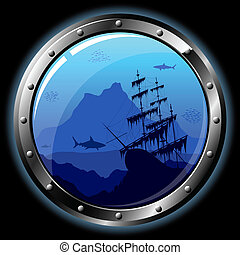 Steel porthole with a view of the underwater world. All...