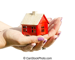 woman hands holding house symbol