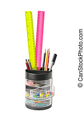stationery in glass isolated on a white...