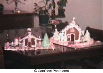 Gingerbread Houses At Christmas - A shot of two home-made...