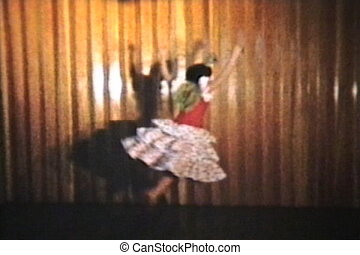 Girl Spanish Dancing 1958 Vintage - A beautiful teenage girl...