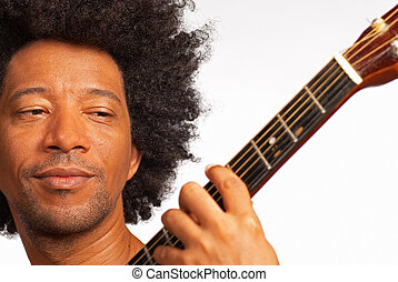 Guitarist - African american guitarist, closeup take while...