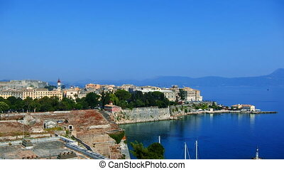 Time lapse: old city, Corfu - Time-lapse: aerial view of old...