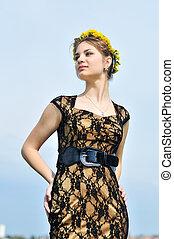 stunning spring girl - spring dandelion teen girl lstanding...