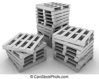 Stacked pallets - stacked pallets ready for delivery. 3d...
