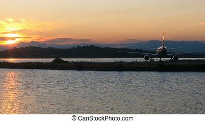 Time lapse:sunset with runway