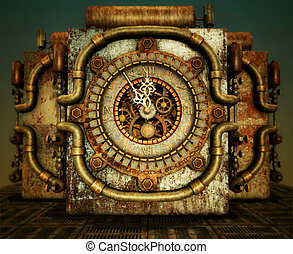 eleven fifty-five - a clock in steampunk style