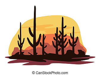 Cactus and Desert - A Latin American desert scene with rocks...