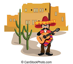 Mexican with Guitar - A Mexican urban scene with a Mexican...