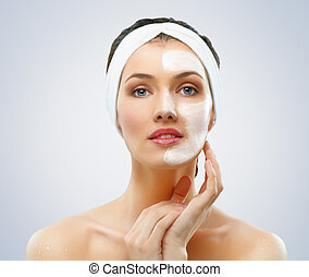 cosmetic mask - beauty women getting facial mask