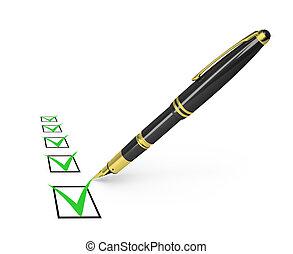 checklist - black pen draws a checkmark in the list. 3d...