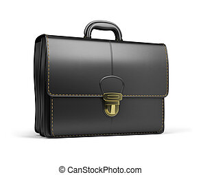 portfolio - Leather briefcase black. 3d image. Isolated...