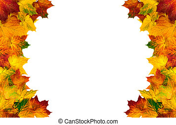 Round border composed of autumn leaves - Colorful autumn...