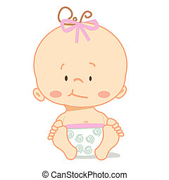 Cute baby , illustration