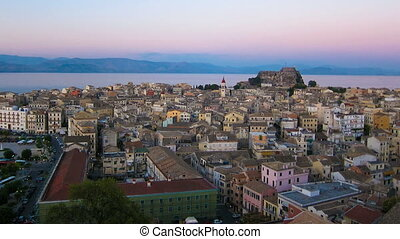 Time lapse: Corfu city at evening