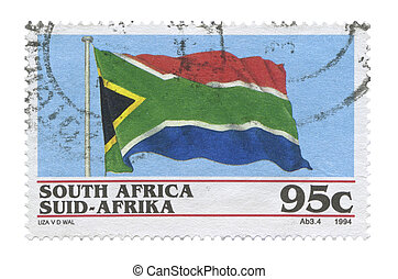 Stamp, South Africa - South African flag stamp on a white...