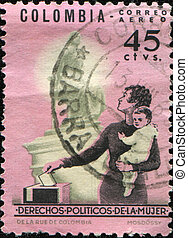 women's political rights - COLOMBIA - CIRCA 1962: A stamp...