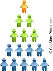 階層, 管理, ピラミッド, イラスト