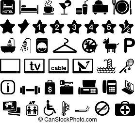 Hotel icon set illustration - Hotel features and services...