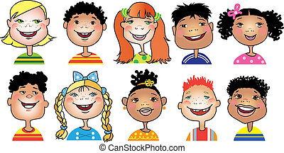 Children cartoon - Ten cartoon portraits of children of...
