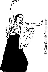 sketch of a girl in a long skirt that dances