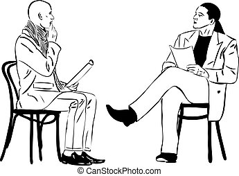 men sitting reading something on a wooden chair - two men...