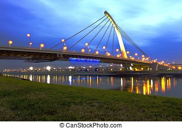 TaChih Bridge shinning at night in Taipei