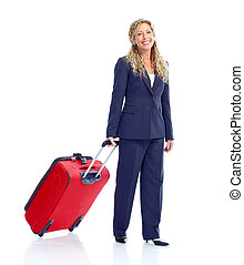 Woman. - Smiling business woman with suitcase. Isolated over...