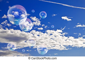 Soap bubbles in the sky