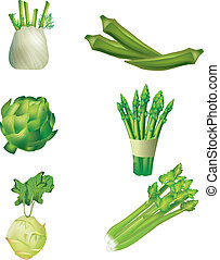 Set of vegetables - fennel, okra, artichoke, asparagus,...