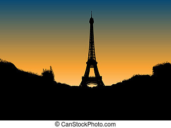 eiffel - Black silhouette of Eiffel tower