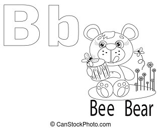 Coloring Alphabet for Kids, B