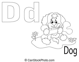 Coloring Alphabet for Kids, D