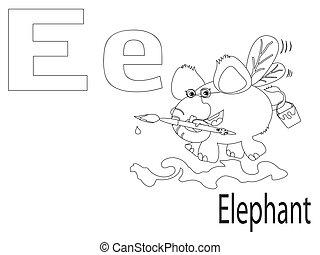 Coloring Alphabet for Kids, E