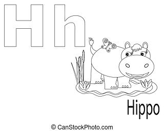 Coloring Alphabet for Kids, H