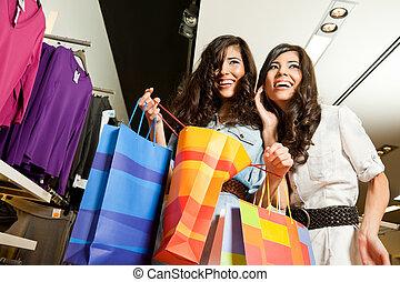 Females shopping bags
