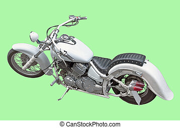 motor cycler, isolated image - motor cycle of white color,...