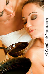 spa aroma therapy - Close-up of two beautiful females...