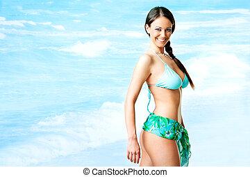 Female swimsuit sea