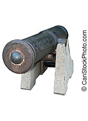 Old ship gun, image on white background